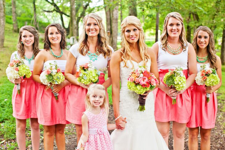 0a613813942 Pink Skirt and White Top Bridesmaid Attire