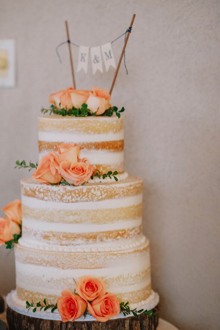 Naked Cake With Peach Roses
