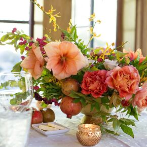 Coral wedding decorations accents coral flower centerpiece with mercury glass votives junglespirit Images