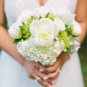 White Spring Peony And Hydrangea Bouquet
