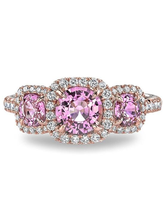 Ritani Three-Stone Halo Pink Sapphire and Diamond Engagement Ring in 18kt Rose Gold (0.39 CTW) Engagement Ring photo