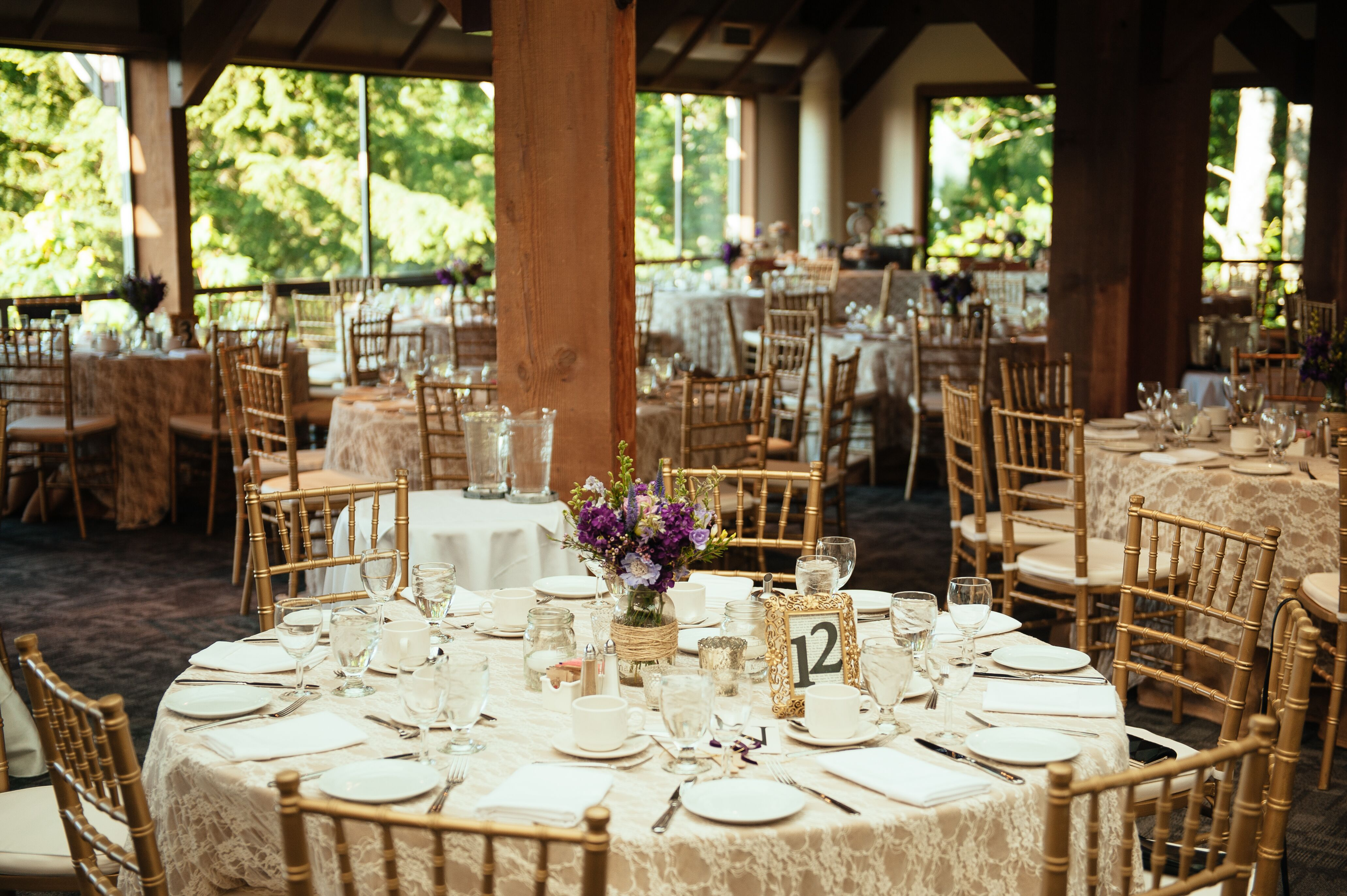 Round Tables and Gold Chiavari Chairs