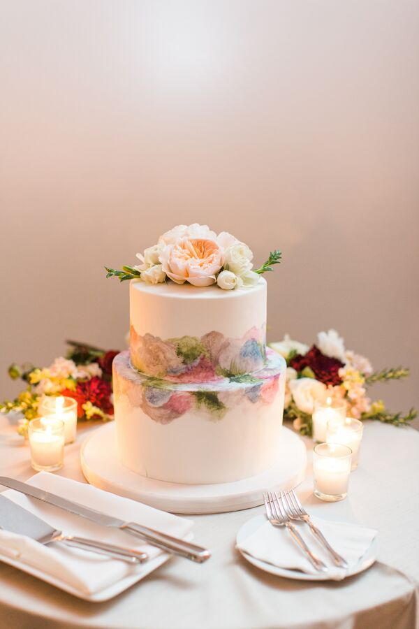 Two Tier Water Color Wedding Cake