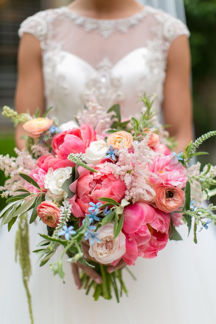Flowers were important to Allie on her wedding day because she adores flowers. Botanica KC totally got her vision and created a lush, textured bouquet including pink peonies, peach ranunculus, ivory roses, white veronica, blush astilbes and lots of greenery.