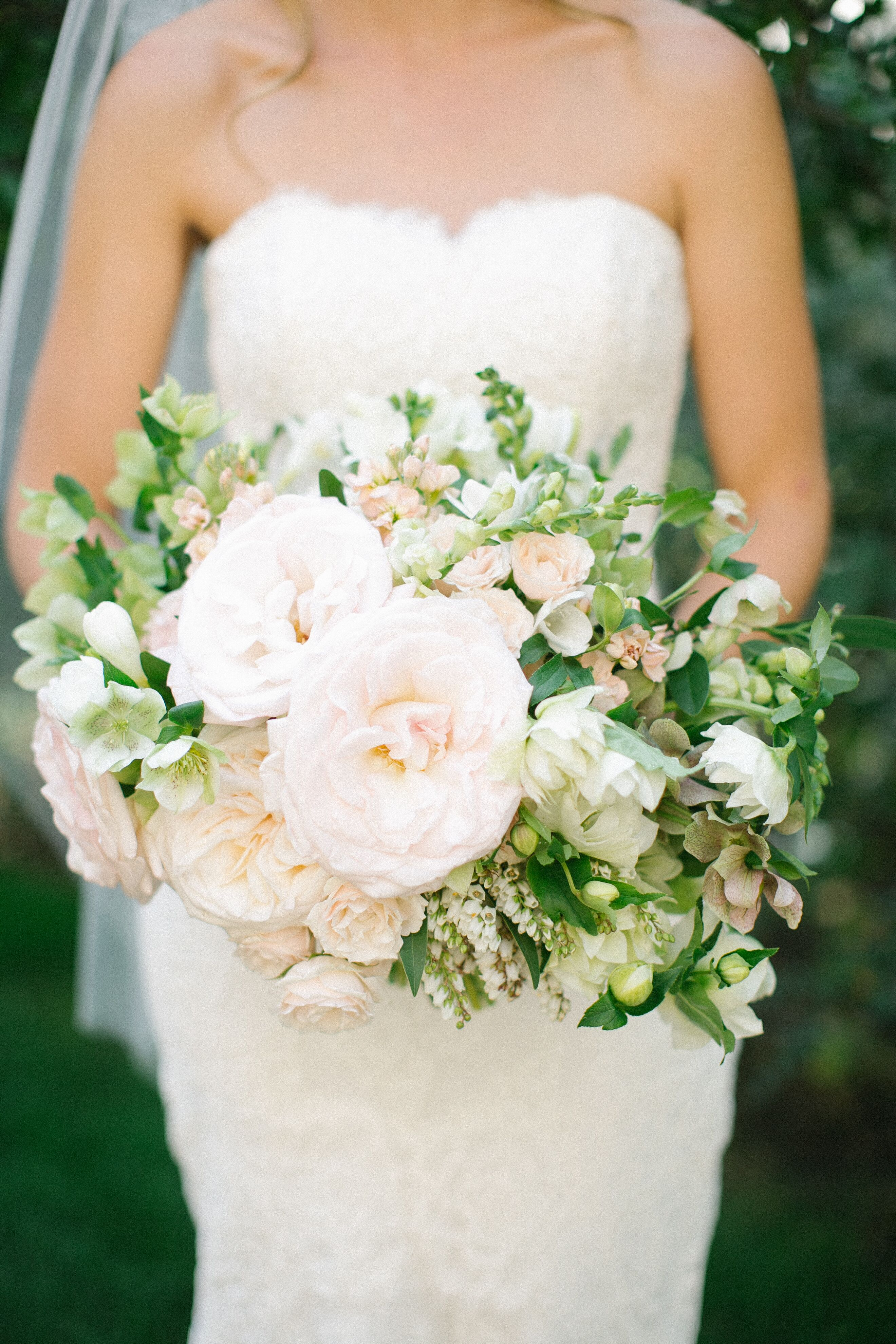 Pink rose white lily of the valley flower crown rose lily of the valley lush bridal bouquet izmirmasajfo