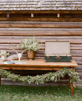 Wyoming wedding guest book table