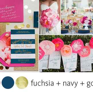Navy, pink and gold wedding color palette