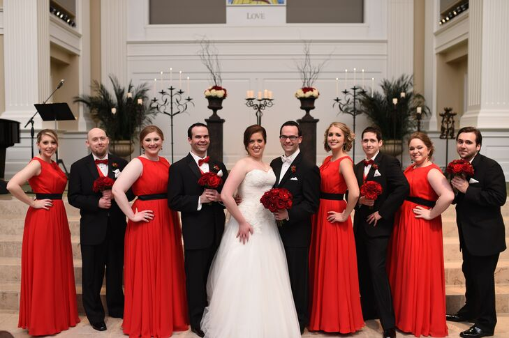 Black, White And Red Wedding Party