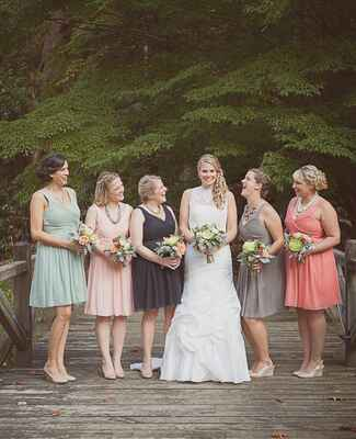 Dusty Hue Mismatched Bridesmaid Dresses |<img class=