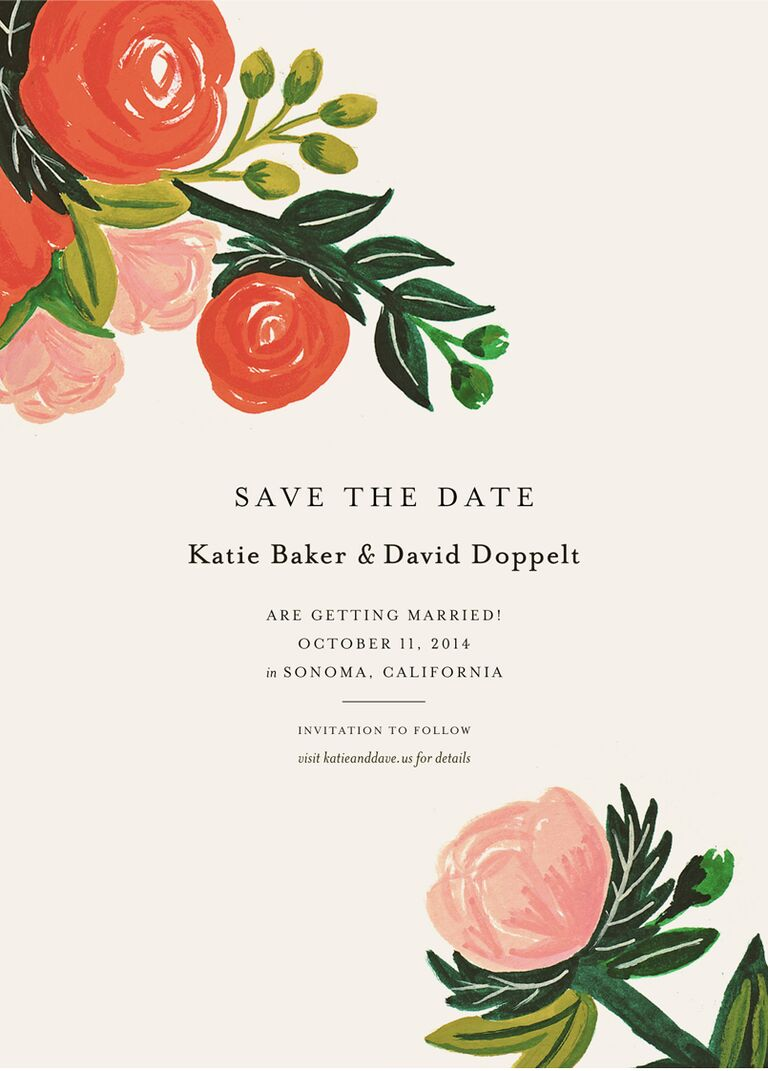 Rifle Paper Co illustrated flower save-the-date