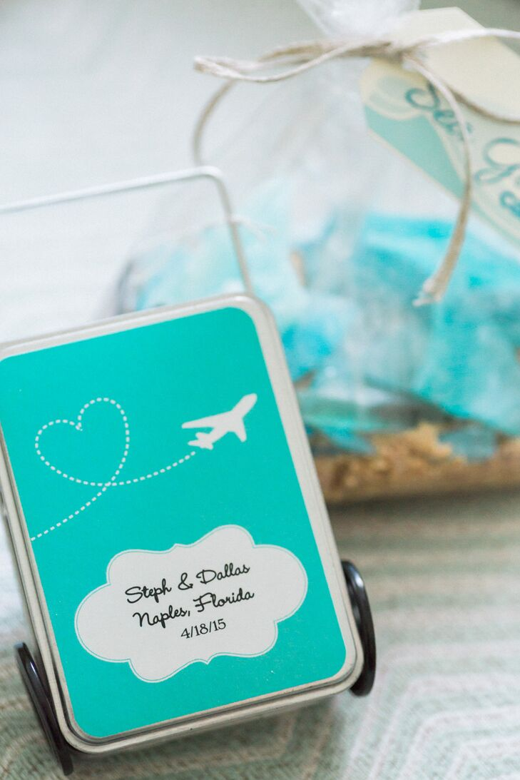 Suitcase Inspired Mint Wedding Favors