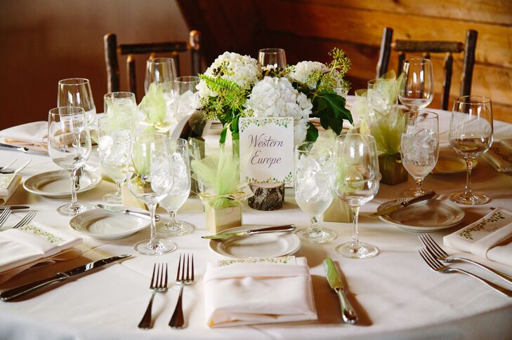 The centerpieces included white hydrangeas, green ferns and seeded eucalyptus. Since Patty and her mother's favorite flowers are hydrangeas, she knew they had to be included. The white and green totally brought the mountain aura into the rustic wooden ballroom.