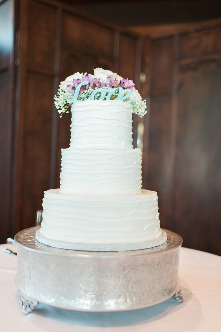 Classic White Wedding Cake with Love Topper in Plano, Texas