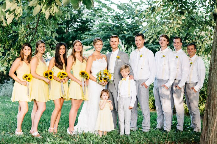 Casual Gray, White and Yellow Wedding Party Attire