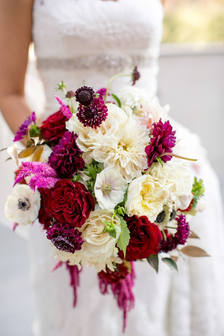 Jewel Toned Wine And White Bridal Bouquet