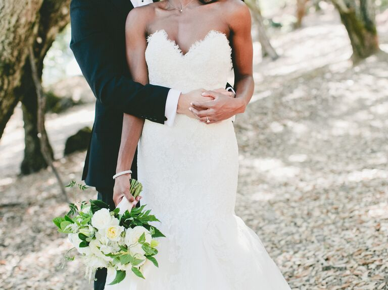 Jim Hjelm strapless wedding gown