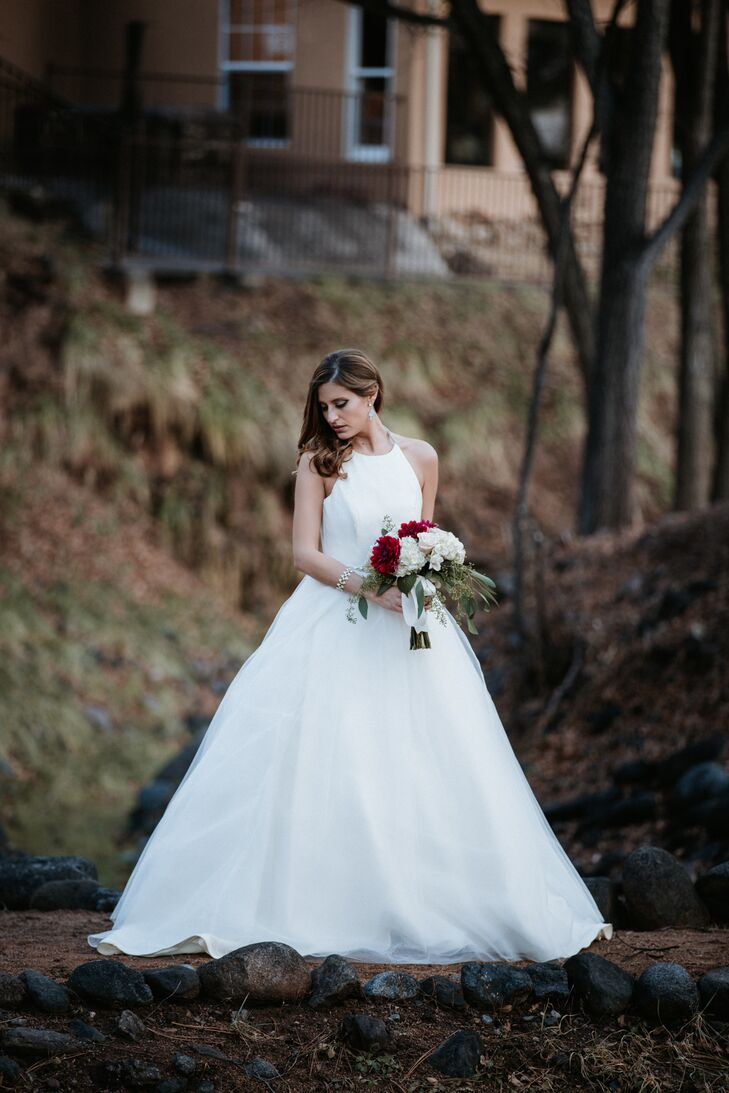 Halter Necklace Wedding Gown With Ball Gown Skirt