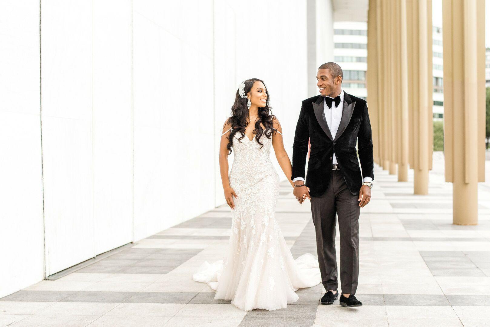Glamorous Beaded Wedding Dress And Black Velvet Tuxedo Jacket