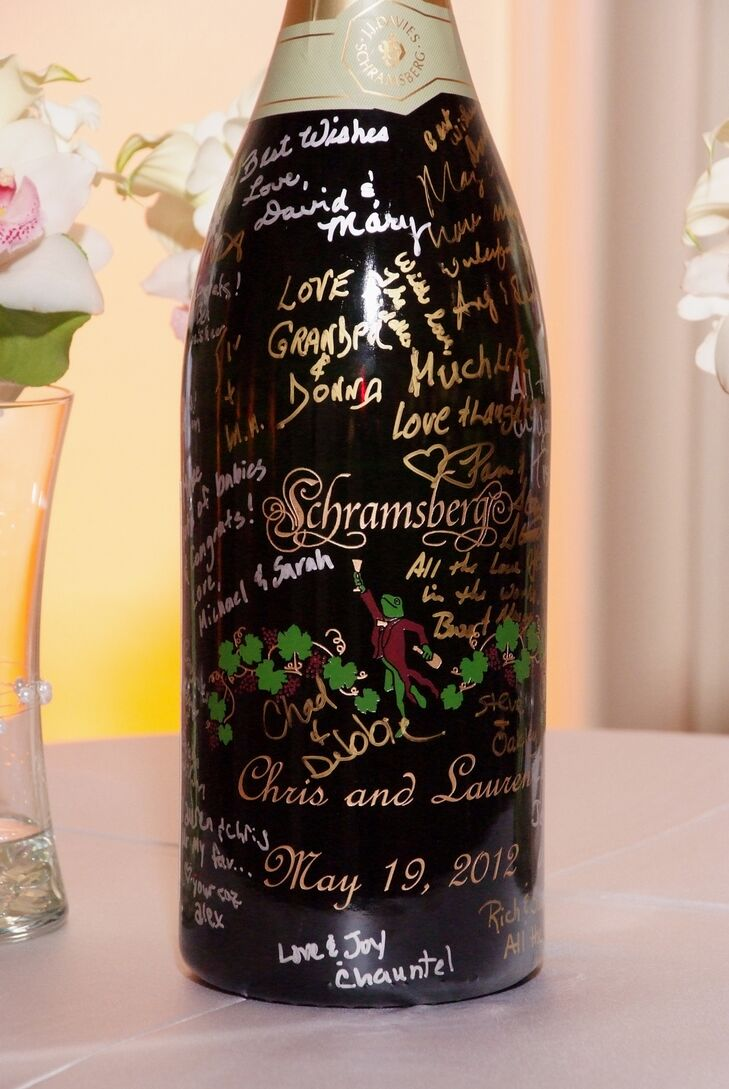 Personalized Black Champagne Bottle Guest Book