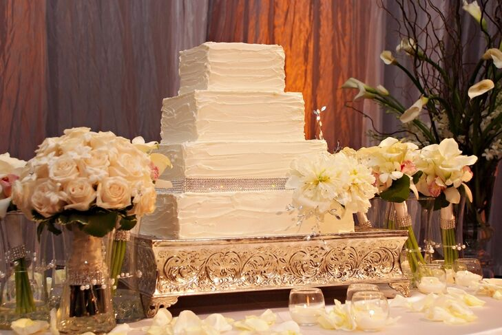 Four-Tier Square Ivory Wedding Cake