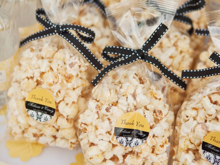 Homemade Popcorn Black White Yellow Wedding Favors