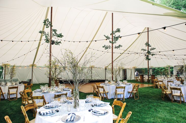 Sail Cloth Pole Tent with Greenery