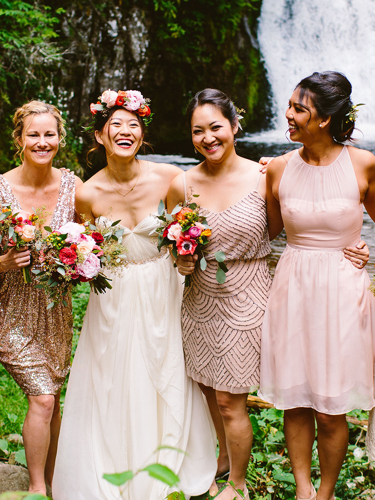 These mismatched bridesmaid dresses are the hottest trend blush and metallic mismatched bridesmaid dresses ombrellifo Gallery
