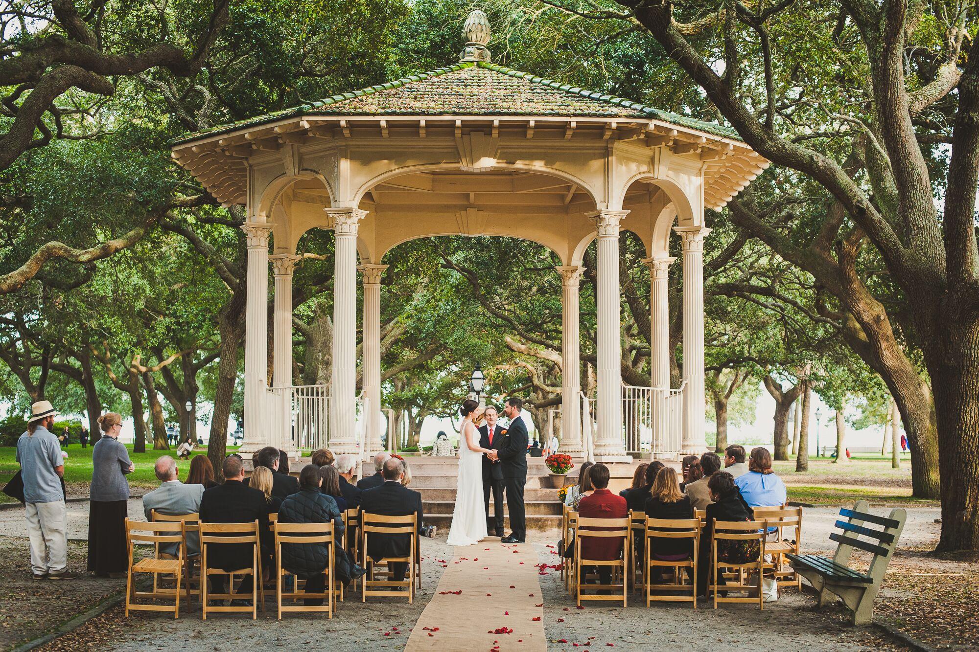 Gazebo Wedding Ceremony In Downtown Charleston