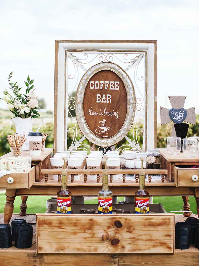 15 creative food bars ideas for Coffee bar at wedding reception
