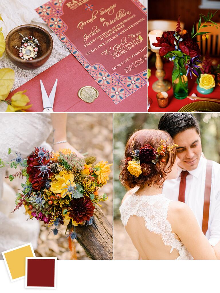 Dusty yellow and maroon wedding color ideas