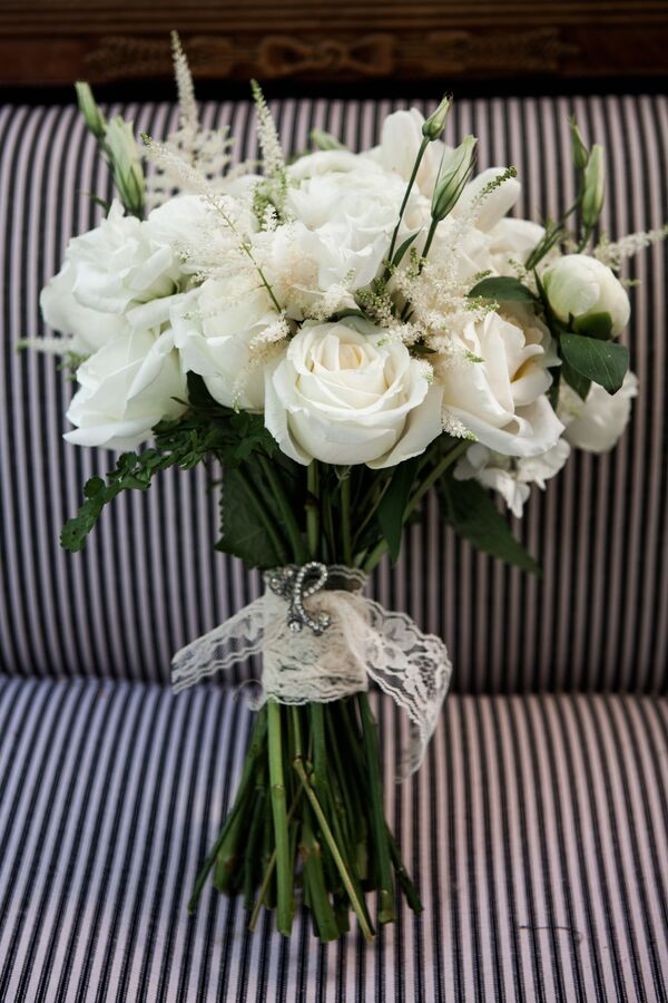Natural White and Green Bridal Bouquet