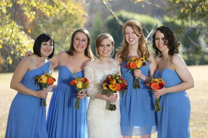 Cornflower Blue Bill Levkoff Bridesmaid Dresses