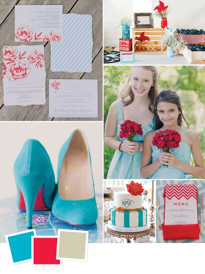 Wedding color combination of aqua, cherry red and khaki