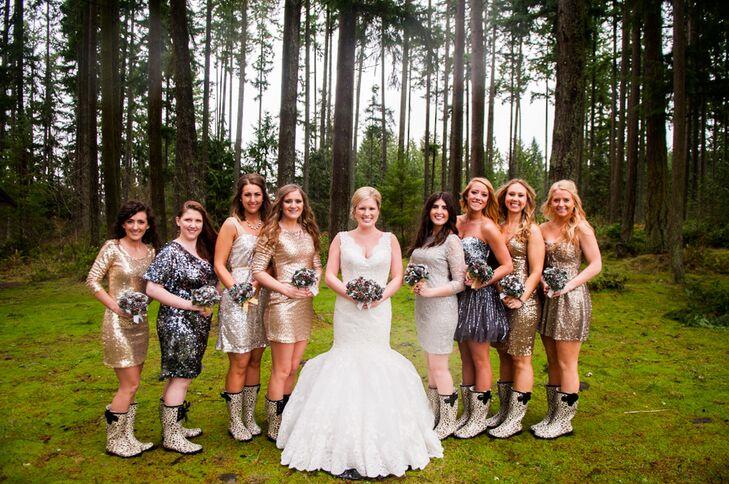 Silver Sequin Bridesmaids Dresses