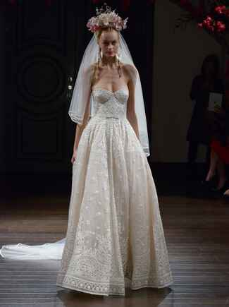 Naeem Khan Fall 2016 hand-embroidered strapless ball gown wedding dress