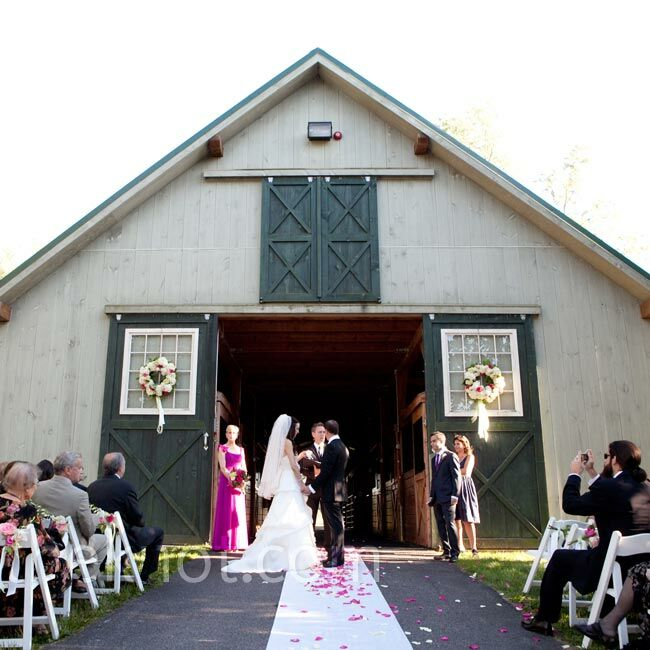 After first considering a destination wedding, the couple opted to wed near their families, on their farm.