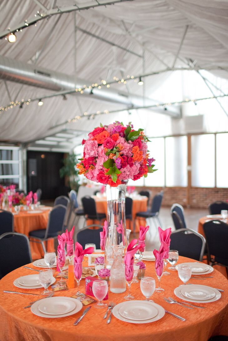 Fuchsia and Orange Rose, Peony and Hydrangea Centerpieces