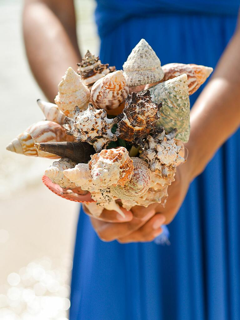 Unique wedding bouquet idea made of sea shells
