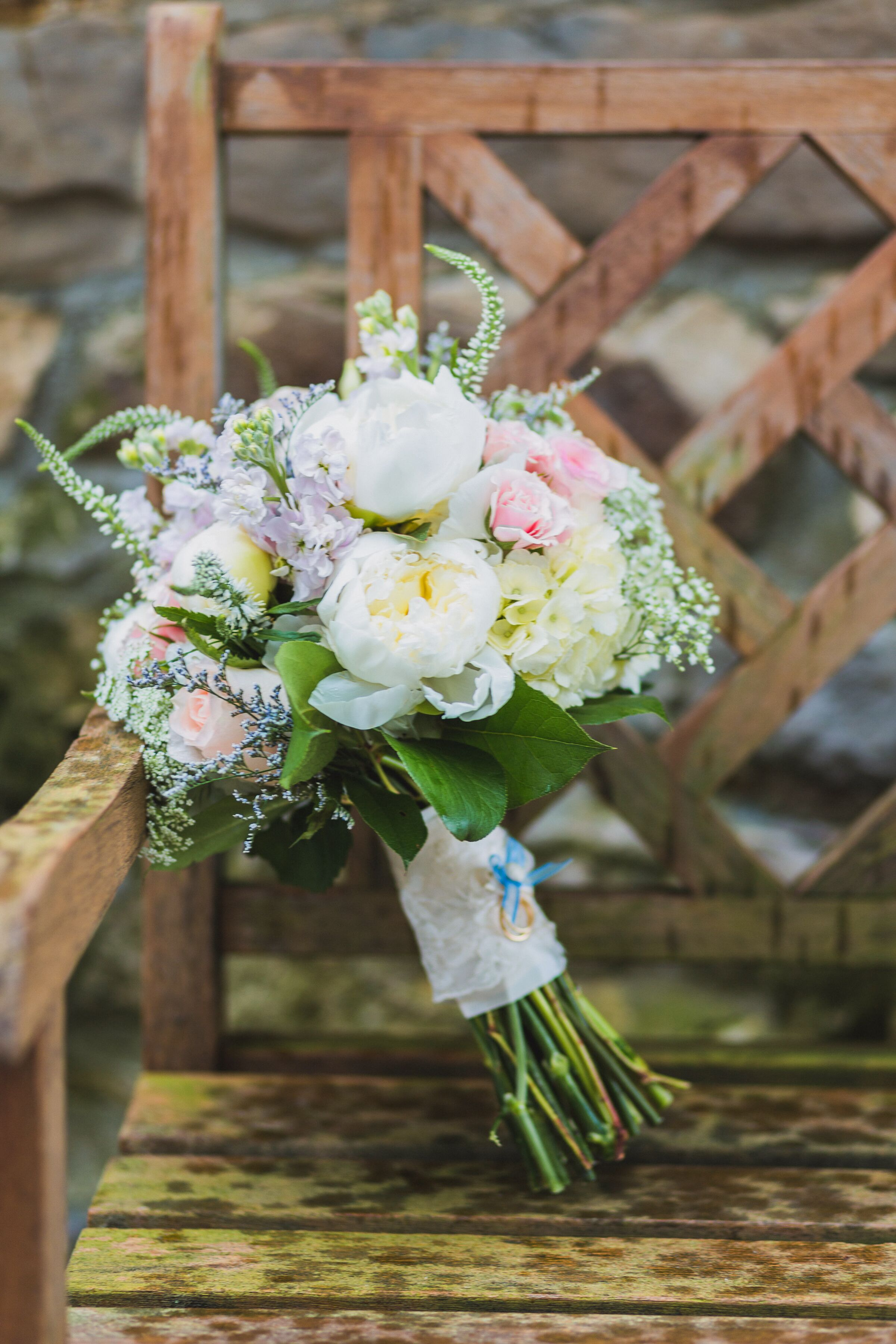 Garden Peony And Delphinium Bridal Bouquet