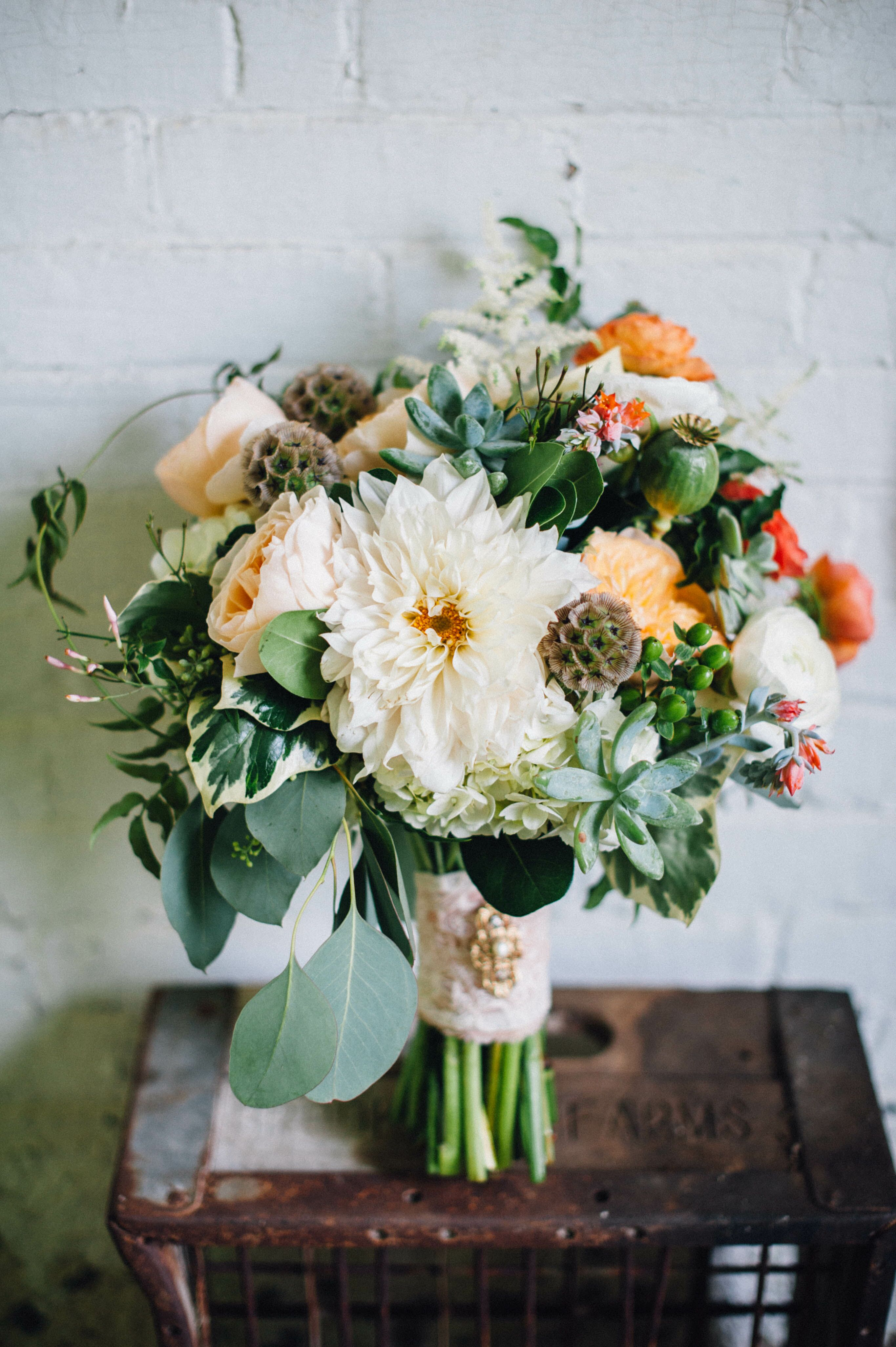 Dahlia Succulent And Various Flowers In Bouquet