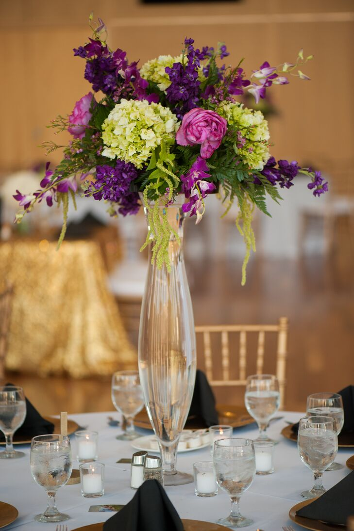 Tall green and purple centerpieces