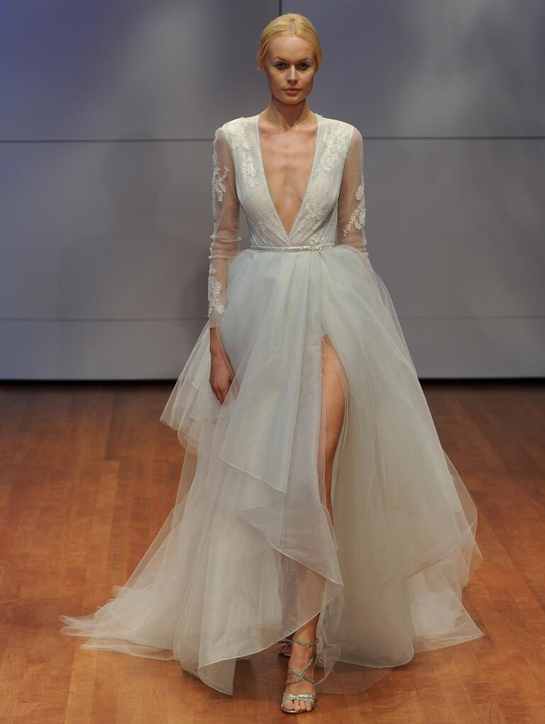 Rivini wedding dress with plunging neckline