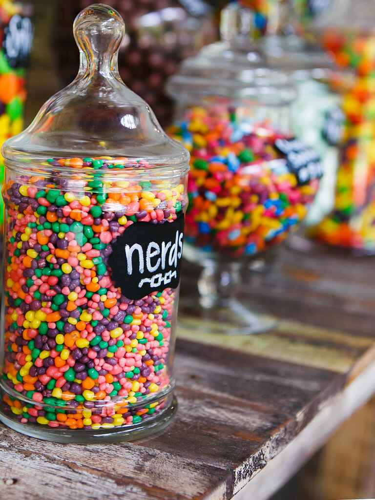 Colorful wedding candy bar idea