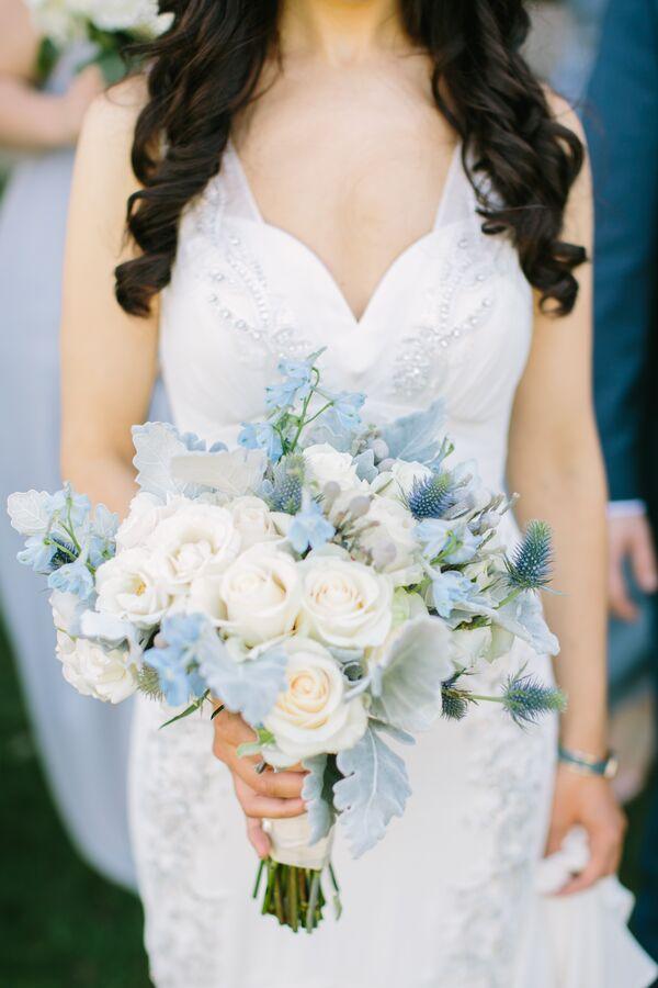Pale Blue Hydrangea Bridesmaid Bouquet