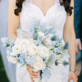 Blue wedding bouquets pale blue delphinium thistle and dusty miller bouquet junglespirit Choice Image