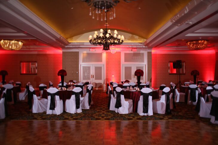 Black And White Reception With Red Uplighting