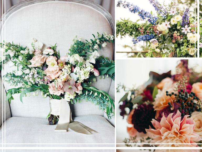 Wild and whimsical bouquets and green centerpieces
