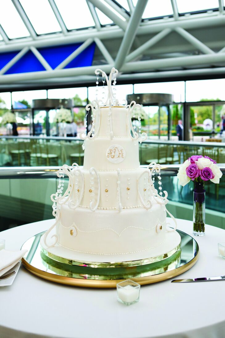 Ashley and Alex's embellished cake was made to look like a chandelier, complete with draped crystals.