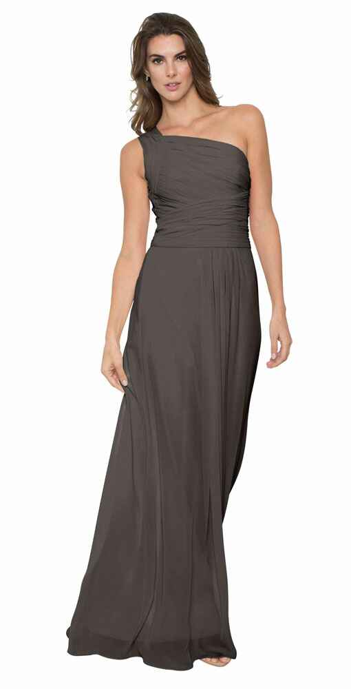grey bridesmaid dress by Monique Lhuillier