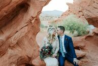 When Australian couple Sarah Kerswell and PJ Sullivan eloped at The Valley of Fire in Overton, Nevada, they let the desert locale take center stage. ""